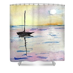 Moored Sailboat Shower Curtain by R Kyllo