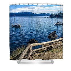 Mooring In Doe Bay Shower Curtain by William Wyckoff