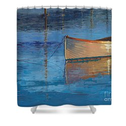 Shower Curtain featuring the painting Moored In Light-sold by Nancy Parsons