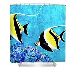 Moorish Idol Fish  #50 Shower Curtain by Donald k Hall