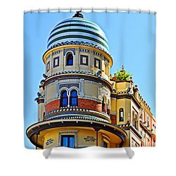 Moorish Tower With Hdr Processing Shower Curtain by Mary Machare