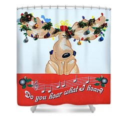 Moose Christmas Greeting Shower Curtain by Sally Weigand