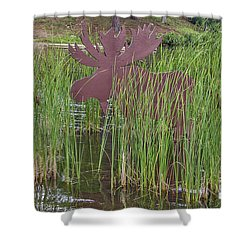 Shower Curtain featuring the photograph Moose In Bulrushes by Sue Smith
