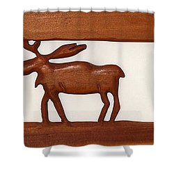 Shower Curtain featuring the mixed media Moose Walking Through The Forest by Robert Margetts