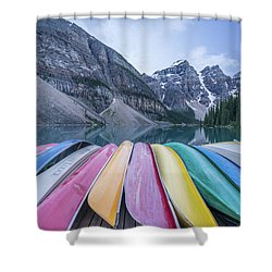 Moraine Lake Colors Shower Curtain by Alpha Wanderlust