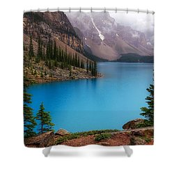 Moraine Lake Shower Curtain by Heather Vopni