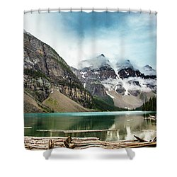 Moraine Lake In The Rain Shower Curtain