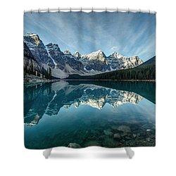 Moraine Lake Reflection Shower Curtain