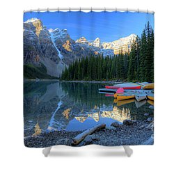 Moraine Lake Sunrise Blue Skies Canoes Shower Curtain