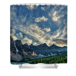 Moraine Lake Sunset - Golden Rays Shower Curtain