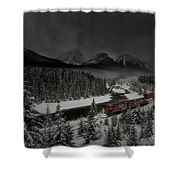Morant's Curve - Winter Night Shower Curtain by Brad Allen Fine Art