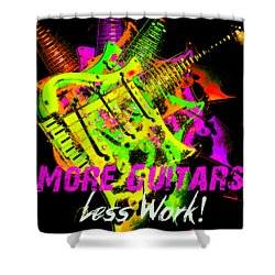 Shower Curtain featuring the photograph More Guitars  by Guitar Wacky