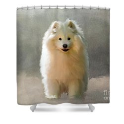 Shower Curtain featuring the digital art More Snow Please by Lois Bryan
