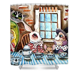 More Tea Shower Curtain by Lucia Stewart