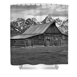 Mormon Homestead Barn Black And White Shower Curtain by Adam Jewell