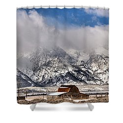 Shower Curtain featuring the photograph Mormon Row Early Winter Panorama by Adam Jewell