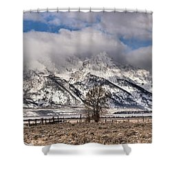 Shower Curtain featuring the photograph Mormon Row Extended Panorama by Adam Jewell