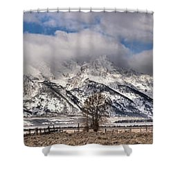 Shower Curtain featuring the photograph Mormon Row Snowy Extended Panorama by Adam Jewell