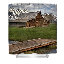 Mormon Row Water Crossing Shower Curtain by Adam Jewell