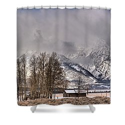 Shower Curtain featuring the photograph Mormon Row Winter Morning Panorama by Adam Jewell