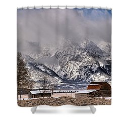 Shower Curtain featuring the photograph Mormon Row Winter Panorama by Adam Jewell