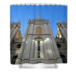 Mormon Temple Shower Curtain by David Lee Thompson