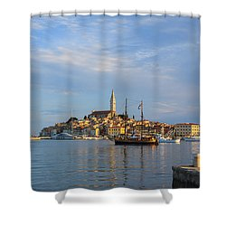 Shower Curtain featuring the photograph Morning Aquarelle In Rovinj by Davorin Mance