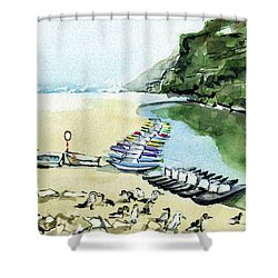 Shower Curtain featuring the painting Morning At Porto Novo Beach by Dora Hathazi Mendes