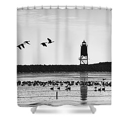 Shower Curtain featuring the photograph Morning At Racine Lakefront by Ricky L Jones