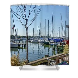 Shower Curtain featuring the photograph Morning At The Marina by Charles Kraus