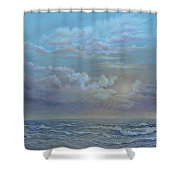 Morning At The Ocean Shower Curtain by Luczay