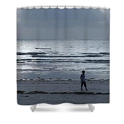 Morning Beach Walk On A Grey Day - Lone Dhow Shower Curtain