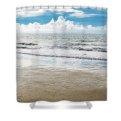 Morning Beach Workout Shower Curtain
