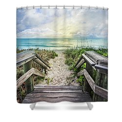 Shower Curtain featuring the photograph Morning Blues At The Dune by Debra and Dave Vanderlaan