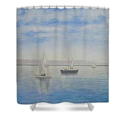 'morning Calm' - West Kirby Marine Lake Shower Curtain by Peter Farrow