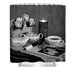 Morning Coffee And Reading Magazine Time Shower Curtain by Sherry Hallemeier
