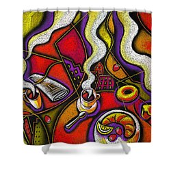 Shower Curtain featuring the painting Morning Coffee Cup And Muffin  by Leon Zernitsky