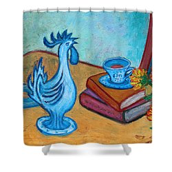 Shower Curtain featuring the painting Morning Coffee Rooster by Xueling Zou