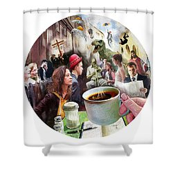 Morning Coffee With Eggs Over Easy Shower Curtain