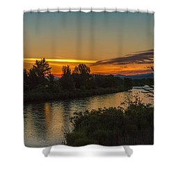Shower Curtain featuring the photograph Morning Color Over The Payette River by Robert Bales