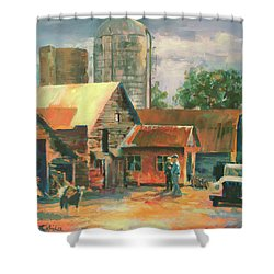 Morning Conference Shower Curtain by Carol Strickland