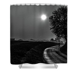 Morning Dew Bw Shower Curtain
