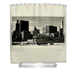 Morning Dog Walk - City Of Chicago Shower Curtain
