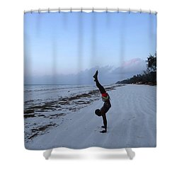 Morning Exercise On The Beach Shower Curtain