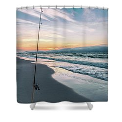 Shower Curtain featuring the photograph Morning Fishing At The Beach  by John McGraw
