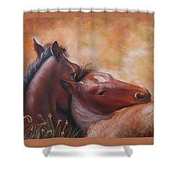 Morning Foals Shower Curtain