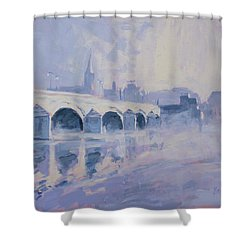 Morning Fog Around The Old Bridge Shower Curtain