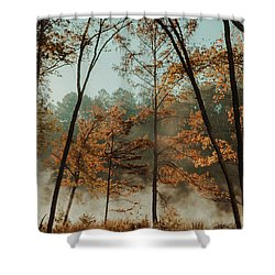 Shower Curtain featuring the photograph Morning Fog At The River by Iris Greenwell