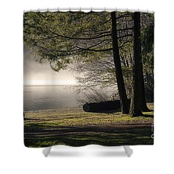 Shower Curtain featuring the photograph Morning Fog by Inge Riis McDonald