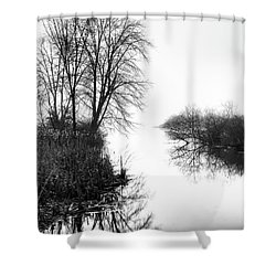Morning Fog - Inlet, Lake Logan Shower Curtain